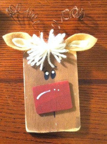 Wood Reindeer Ornament by Hookedonknots1 on Etsy