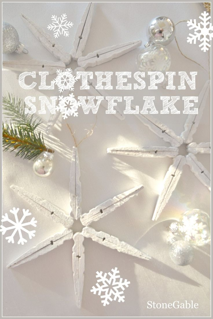 CLOTHESPIN SNOWFLAKES  easy-to-make ornaments  and so pretty stoneableblog.com