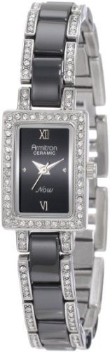 Armitron Women's 75/3955BKSV Black Ceramic Silver-Tone Swarovski Crystal Accented Bracelet Watch Armitron. $51.92. Silver-tone bezel accented with 52 clear Swarovski crystals. Black glossy dial with silver-tone Roman numerals and dot markers. Black ceramic bracelet accented with 60 clear Swarovski crystals. Silver-tone hour hands; Sweep second hand. Adjustable bracelet with a jewelry clasp and extender