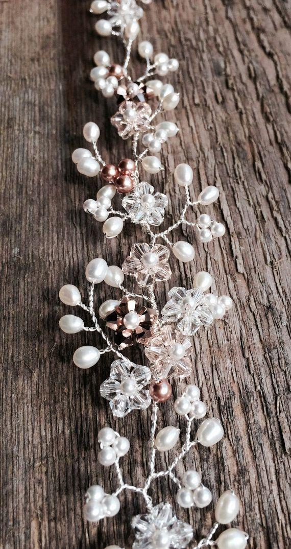 Bridal hair vine pearl and Swarovski crystal by JoannaReedBridal