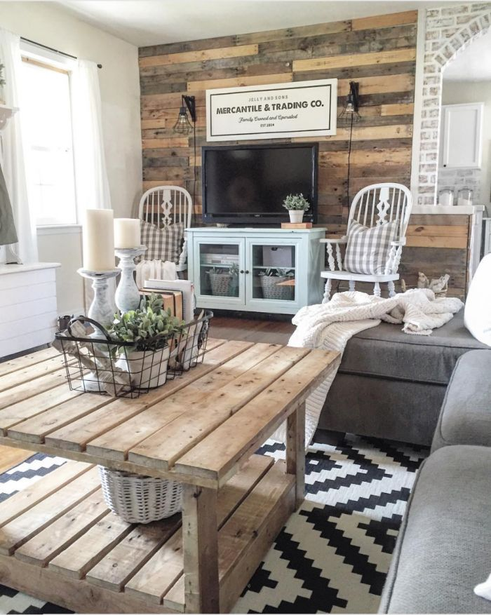 a natural wood farmhouse living room from the rustic pallet 10 stunning farmhouse living rooms - Living Room