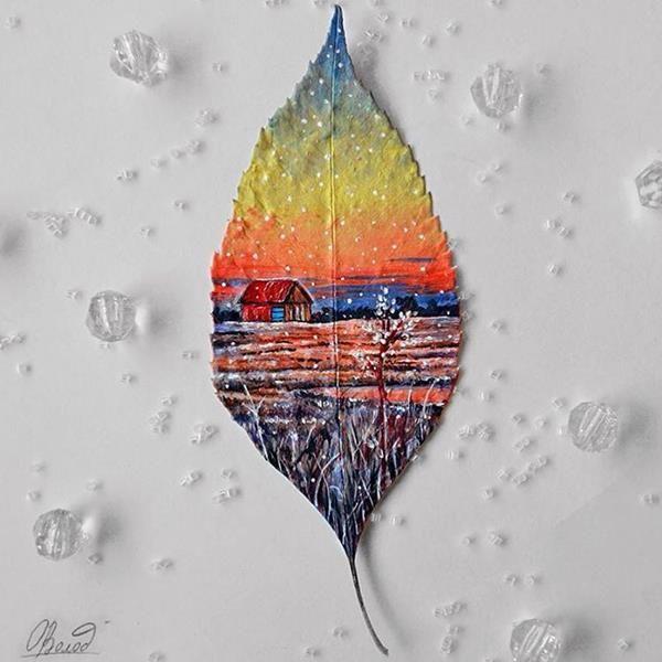 Sanatlı Bi Blog Yapraklara Muhteşem Manzara Resimleri Yapan Genç Yetenek: 'Rayne Coldkiss' 4