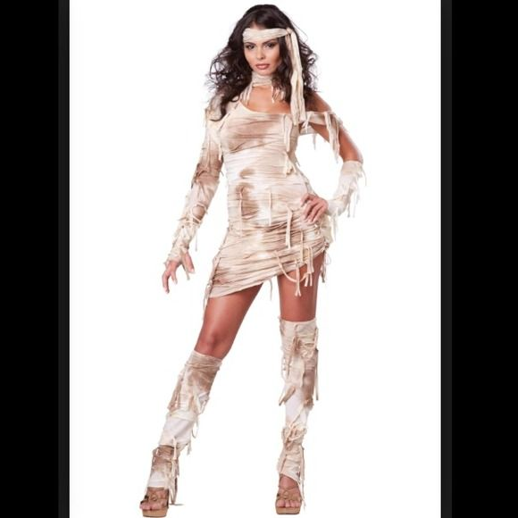 Sexy mummy costume Sexy mummy costume! Comes with the dress, head piece, arm glove, and leg warmers!  Brand new, never worn!! halloween costumes Dresses
