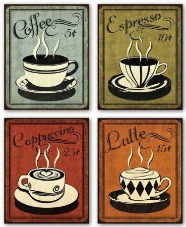 "Amazon.com - Retro Coffee Set by N. Harbick 8""x10"" Art Print Poster - Coffee Decor"