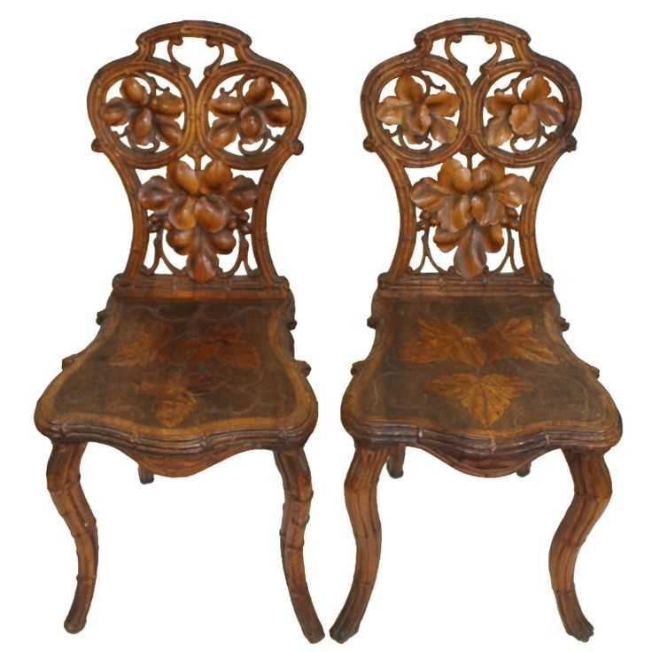 Pair Of Carved German Black Forest Chestnut Hallway Chairs With Grape Vine  Leaf Details Carved In