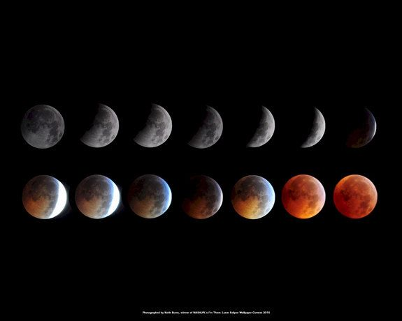 Credit: NASA/JPL-via Kieth BurnsThis montage of images taken by skywatcher Kieth Burns shows the Dec. 20, 2010 total lunar eclipse. The photos won a NASA contest to become an official NASA/JPL wallpaper for the public.