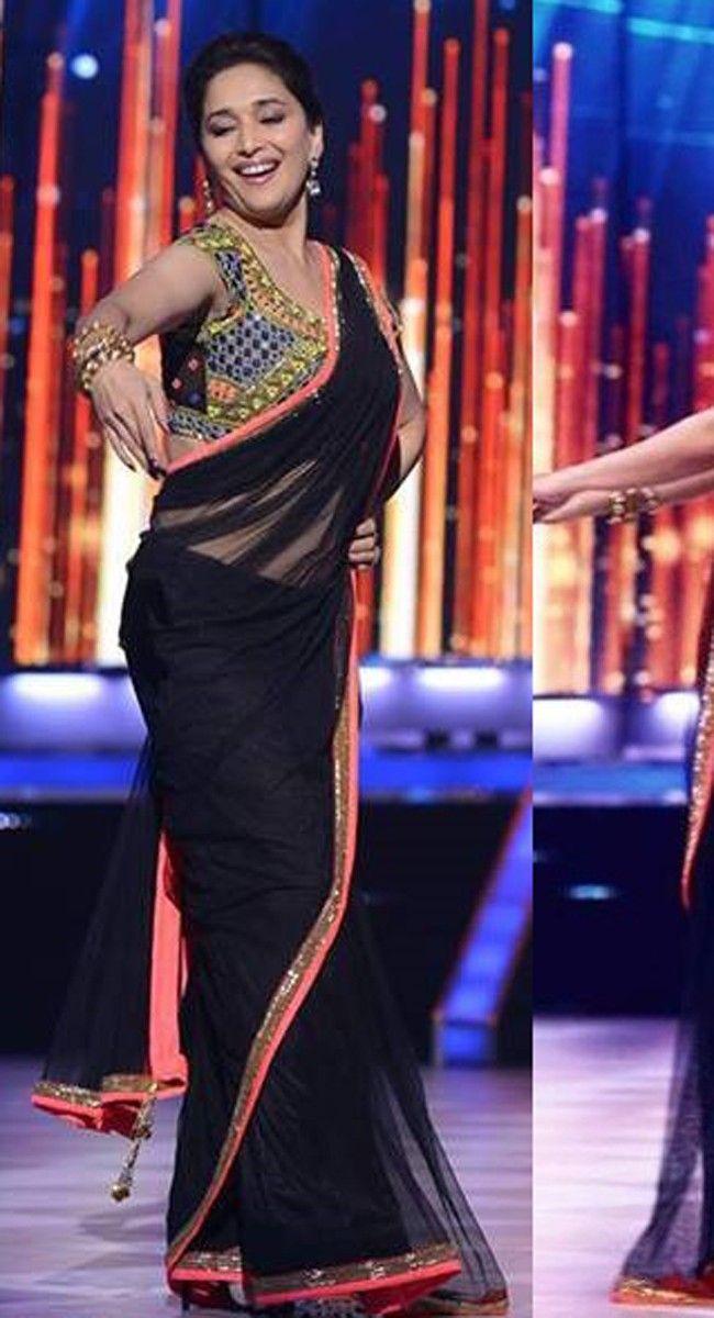 Alluring Black Embroidered Saree