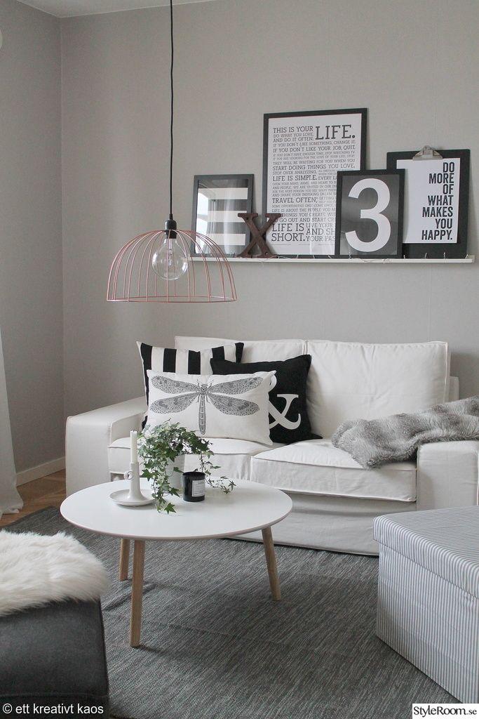 Musta-valko-harmaa olohuone
