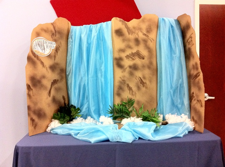 Table top waterfall I made from cardboard and fabric.  This would be great for pre-k.  Doesn't take up much room.