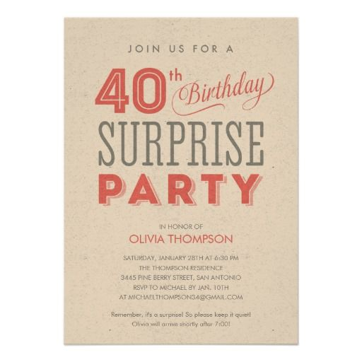 40th surprise birthday invitations let s party pinterest