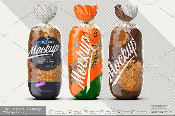 Download Three Transparent Bread Package Bread Packaging Mockup Mockup Free Psd