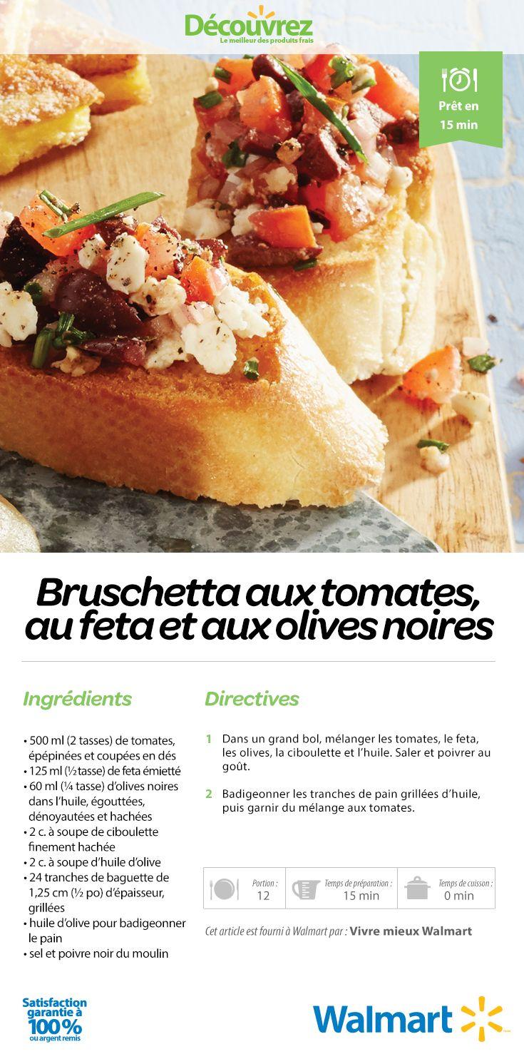 Le fromage feta ajoute une saveur plus prononcée au goût de cette bruschetta aux tomates tandis que les olives noires lui confèrent un goût plus salé. #RecettesDeBruschetta #BruschettaAuxTomates #PainFrais #crostini #RecettesDHorsDOeuvres #RecettesDeSouper