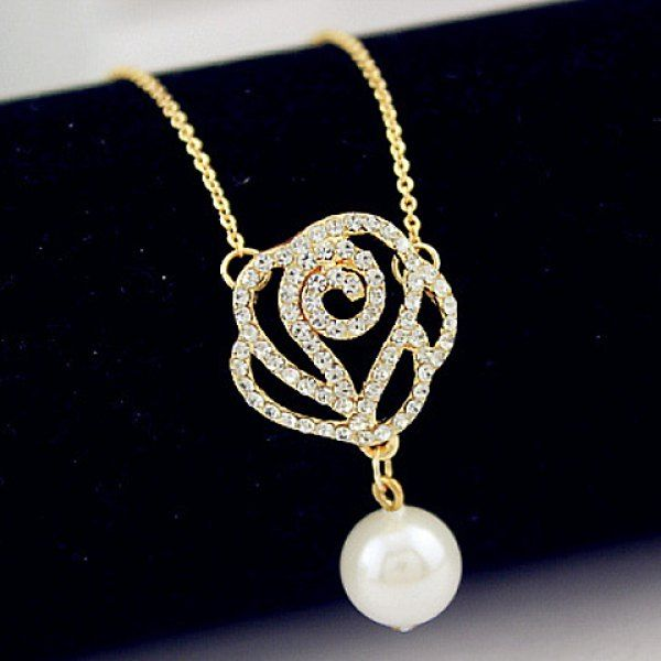 Trendy Faux Pearl Decorated Diamante Openwork Flower Pendant Necklace For Women, COLOR ASSORTED in Necklaces | DressLily.com