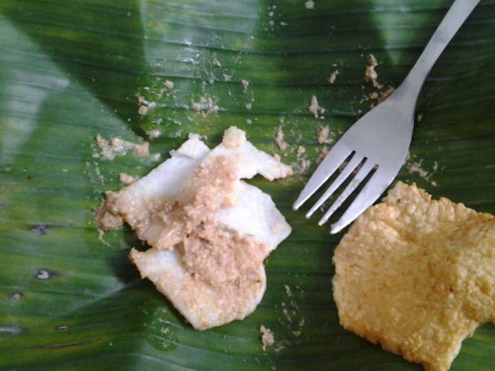 Cabuk Rambak. Traditional food from Solo. A combination of ketupat (rice cake), bumbu kacang (peanut dressings), and kerupuk karak (rice crackers).