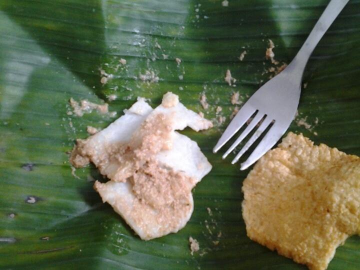 Cabuk Rambak. Traditional food from Solo. A combination of ketupat (rice cake), bumbu kacang (peanut dressings), and kerupuk karak (rice crackers).