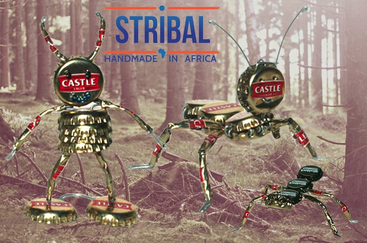 Stribal crazy creatures handcrafted from recycled bottle tops.    For more tin and recycled tin artwork please see here:http://www.stribal.com/artworks/tin-and-recycled-tin-artworks.html