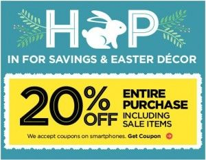 20% Off Entire Purchase at Michaels; 40% Off Hobby Lobby and JoAnn