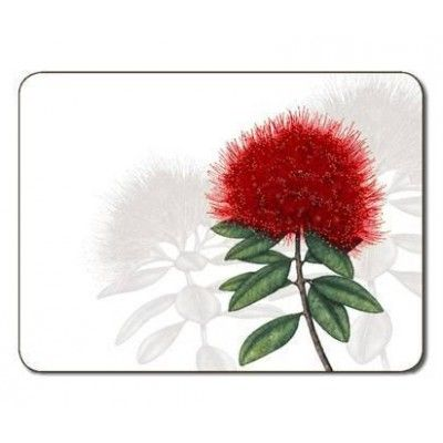 Placemats Pohutukawa Bloom. These quality placemats feature the Pohutukawa Bloom design depicting New Zealand's stunning red Pohutukawa flowers. The Pohutukawa tree has been dubbed the 'New Zealand Christmas Tree' because its red blooms appear at Christmas time creating a stunning display in many New Zealand coastal areas. Protect furniture from staining and scratching with these placemats. Matching coasters available.   See more at www.entirelynz.co.nz/gifts