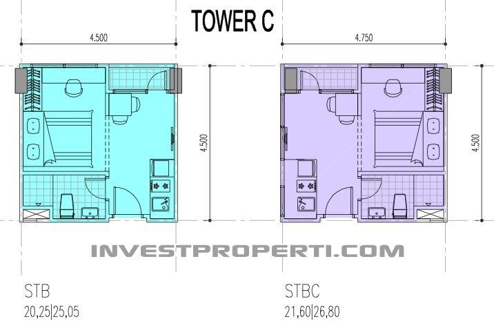 Tower C, tipe unit Studio apartemen B Residence