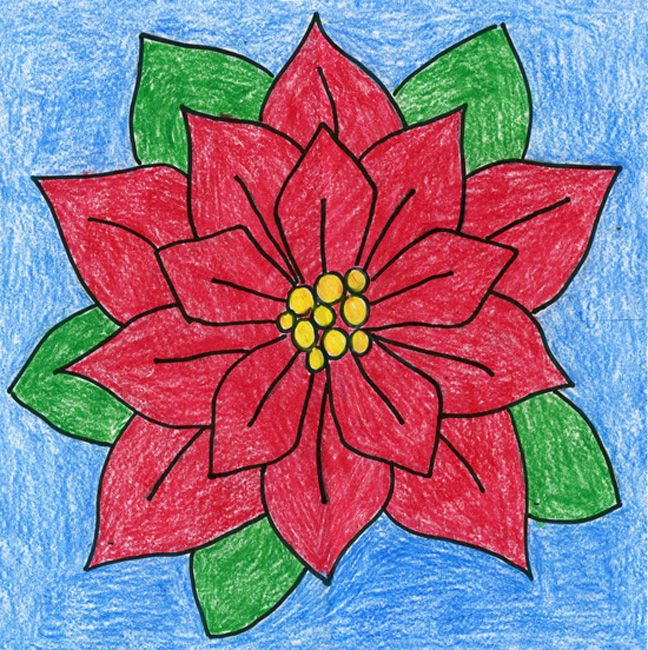 How to draw a Poinsettia. Downloadable PDF tutorial available. #artprojectsforkids #poinsettia #christmas