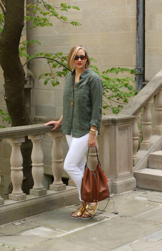 J Crew White Matchstick Jeans, Gap Linen Shirt, Gold Birkenstock Sandals, 40 + fashion blogger, 40 + style blogger, over 40 fashion blogger, over 40 style blogger, curvy blonde