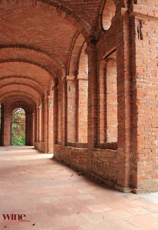 Red brick of the Rione Castle in Dogliani, a city in the Langhe of Piemonte, Italy--where Dolcetto wine is made