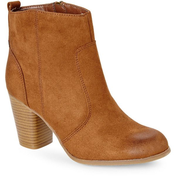 MADDEN GIRL Cognac Audette Short Boots ($46) ❤ liked on Polyvore featuring shoes, boots, ankle booties, beiges, high heel bootie, high heel ankle booties, bootie boots, cognac boots and high heel booties