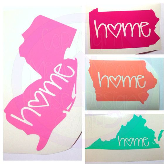 Home State Decal Cute Custom Decal for by MeowMeowHouseDesigns