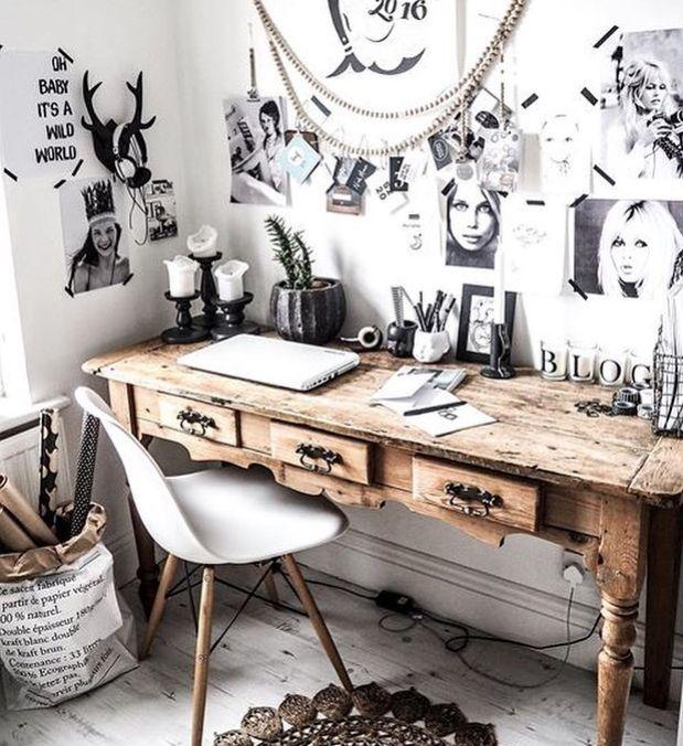 Un bureau, nature et bohème, pour un esprit de fraicheur dans la décoration intérieure