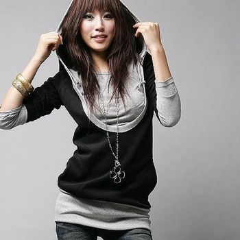 New Fashion Women Lady False Two T Shirts Long Sleeve Shirt Tops, Black+Gray, M, L, XL http://tinyurl.com/ngzy4ue #womenfashion #top #tshirt #fashiontshirt