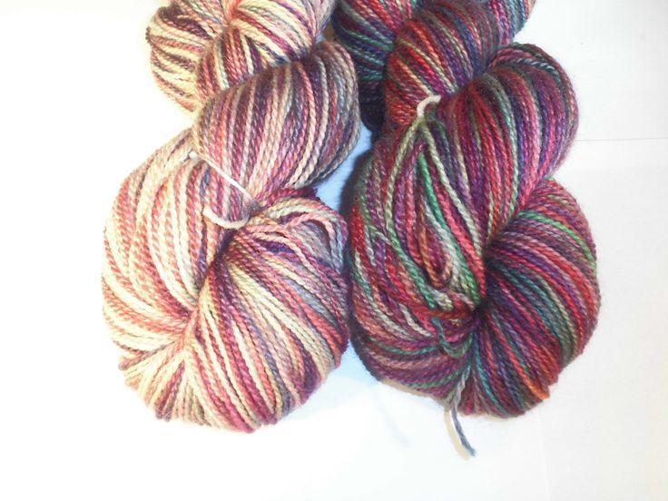 Handdyed Bluefaced Leicester Wool Sock Yarn, 2-Ply Jewelery Colors, Multi Colors SockYarn, Fingering Yarn, Handpainted Wool Yarn