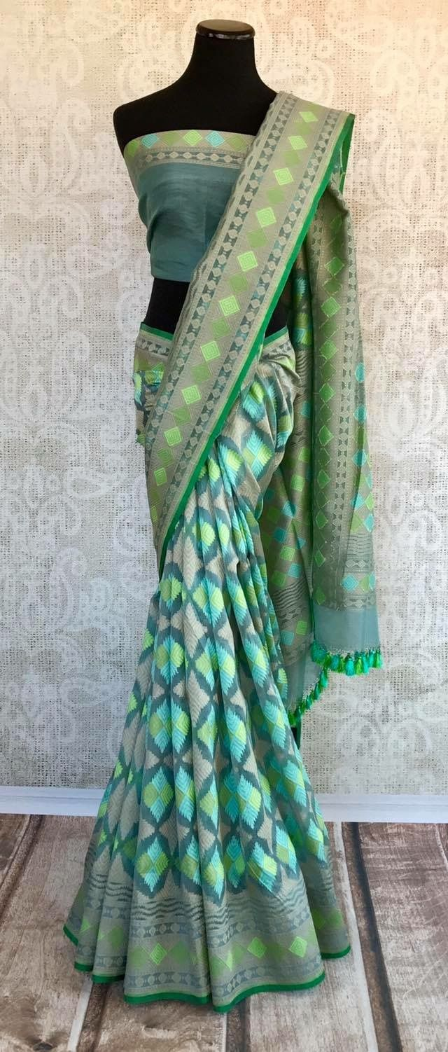 Green/Teal and grey saree