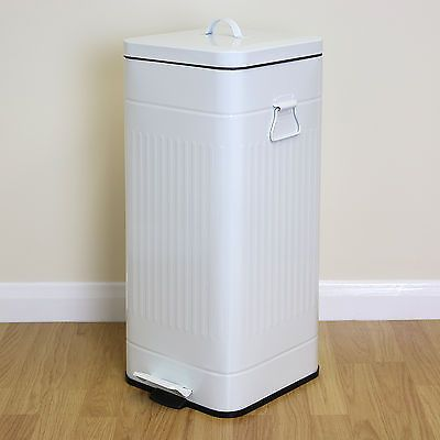Large 30L White Retro Square Foot Pedal Kitchen Bin Steel Rubbish/Waste Dustbin