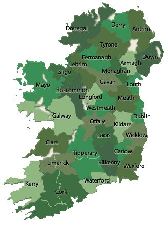 4. Catholic Parishes. Click on a county to see map of parish locations. Click on parish name to see records available. Pinned with permission, from John Grenham's Irish Ancestors website.