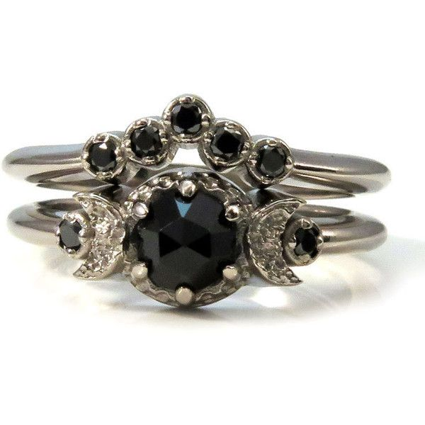 Black Diamond and Black Spinel Moon Engagement Victorian Gothic... ($1,178) ❤ liked on Polyvore featuring jewelry, rings, 14 karat gold ring, 14k ring, black spinel ring, goth rings and white gold rings