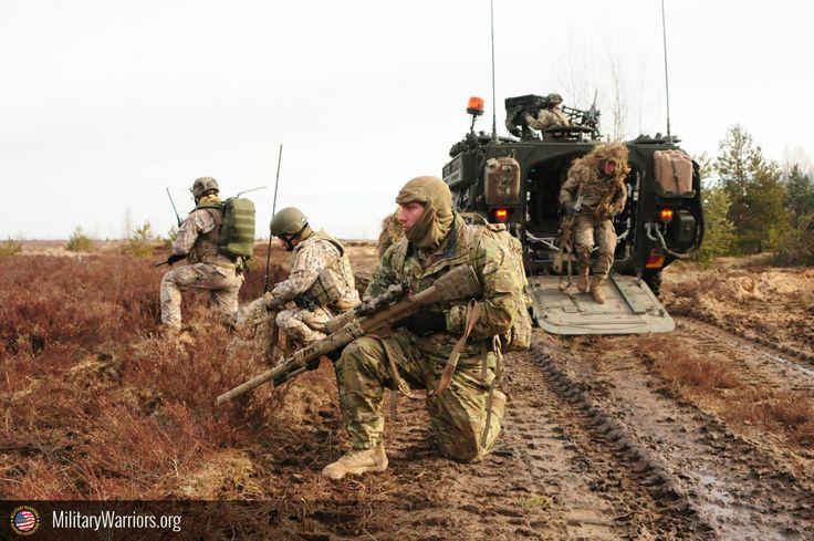 U.s. ejército francotiradores asignada a la sede y sede de tropas, segundo Regimiento de caballería ( prusiano ), y letón tierra fuerzas francotiradores, tira el perímetro de seguridad durante un combinado vivir - fuego ejercicio con la letón fuerzas terrestres, parte de la operación Atlántico resolver en adazi formación espacio, letonia, De Marzo 6, 2015. operación Atlántico resolver es un u.s. ejército europeo condujo tierra fuerza fiabilidad formación misión que se dan en Estonia…