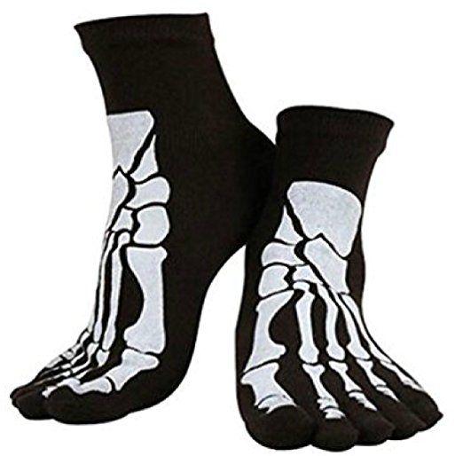 Skeleton Bones 5 Toe Punk Socks Black