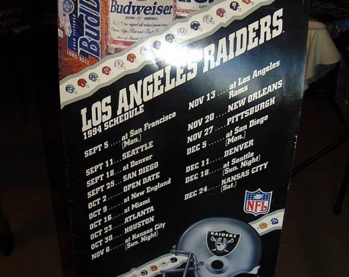 Summer Sale 65% off Vintage 1989, 1990 & 1994 Los Angeles Raiders Schedule Posters Bar wall hangings, Posters Cardboard standees 18in. X 30i