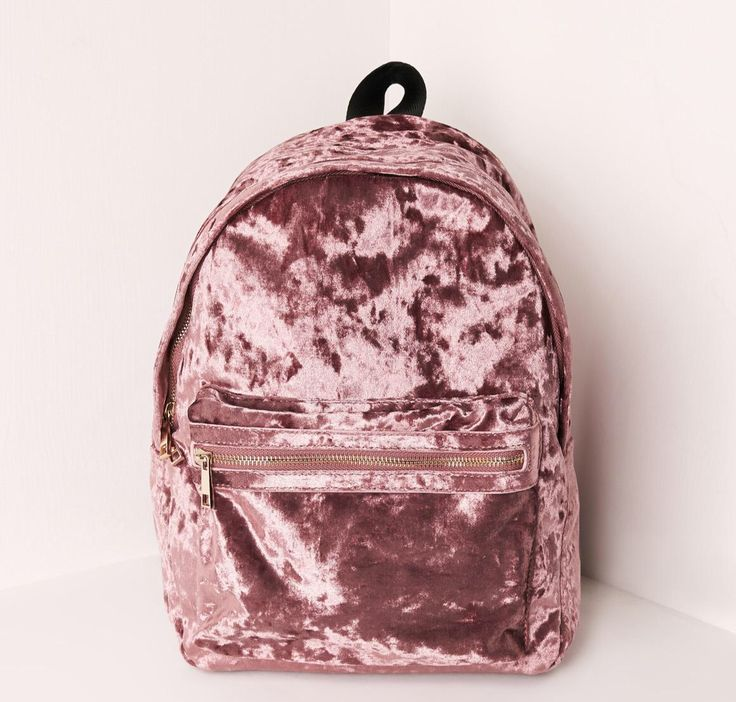This ROSE GOLD VELVET BACKPACK makes us happy.