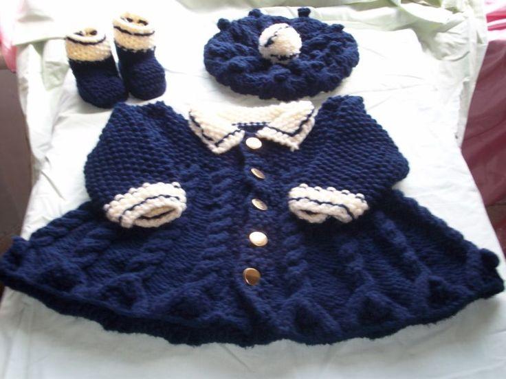 knitting pattern, Girls warm coat, hat, boots, Chunky wool.  6 sizes..children.