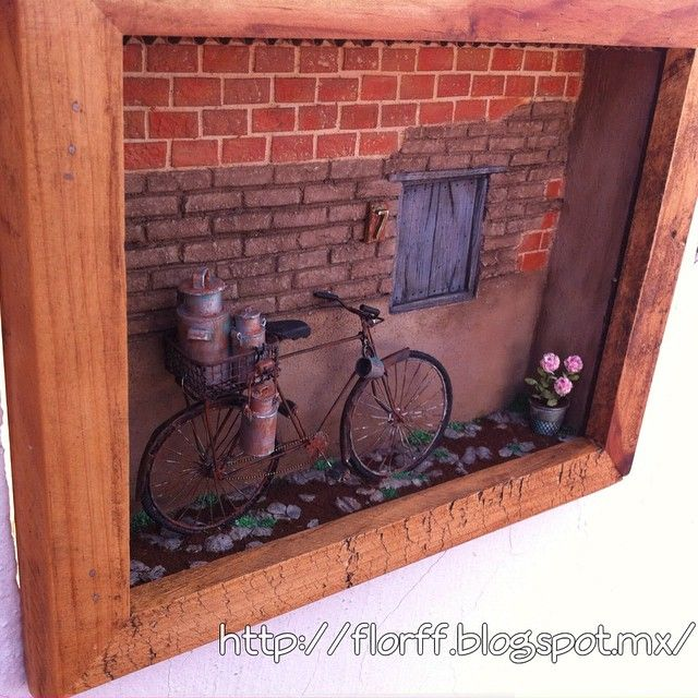 Resultado final del cuadro  con botes lecheros  #miniaturas #miniatures #mini #dollhouses #casademuñecas #escala1 :12 #lecheros #bici #bike  #bicicleta #cuadro #rusty #rustic #rústico #rusticcharm #florffminiaturas #Guadalajara #Jalisco #México