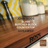 John Boos Butcher Block Countertop Giveaway  Open to: United States Ending on: 03/31/2017 Enter for a chance to win a John Boos Butcher Block Countertop $1000 value. Just in time for your tax refund kitchen remodel. Winner gets to design their own custom countertop of Maple Walnut Cherry or Red Oak in either edge blended or end-grain. Enter this Giveaway at []  Enter the John Boos Butcher Block Countertop Giveaway on Giveaway Promote.