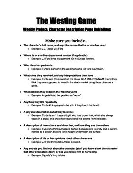 Printables The Westing Game Worksheets 1000 ideas about the westing game on pinterest reading projects guidelines for character descriptions fo