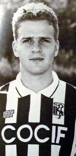 Oliver Bierhoff (Ascoli Calcio 1898, 1991–1995, 117 apps, 48 goals) in black and white.
