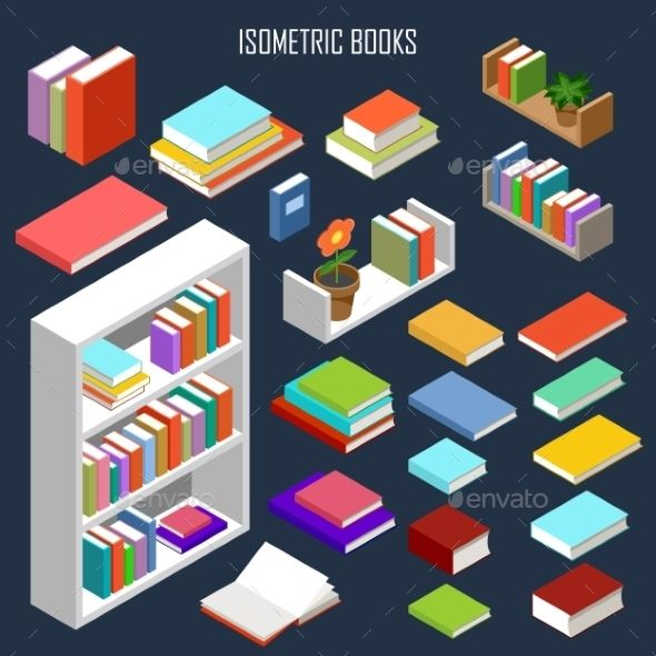 Download Free Graphicriver 	             Isometric Books             #3d #book #bookshelves #bookcase #concept #cover #design #education #flat #furniture #graphic #green #handbook #icon #illustration #isolated #isometric #Isometry #knowledge #library #literature #object #page #paper #school #set #stack #textbook #university #vector