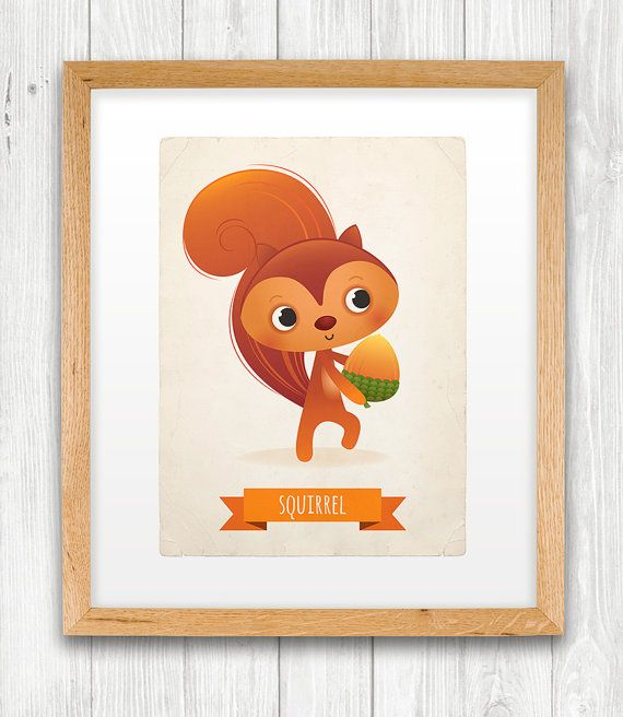 Squirrel art print nursery illustration 5x7in by IreneGoughPrints, €9.95