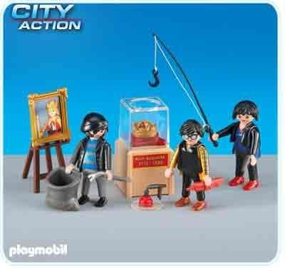 """Playmobil Museum Thieves 6281 by Playmobil. $16.98. Please Note: This item is part of the Playmobil """"Add-on"""" Series. It will ship in a clear plastic bag or brown cardboard box rather than a colorful retail box. Please consider this when gifting.. This item is part of the Direct Service range. This range of products are intended as accessories for or additions to existing Playmobil sets. For this reason these items come in clear plastic bags or brown cardboard boxes in..."""