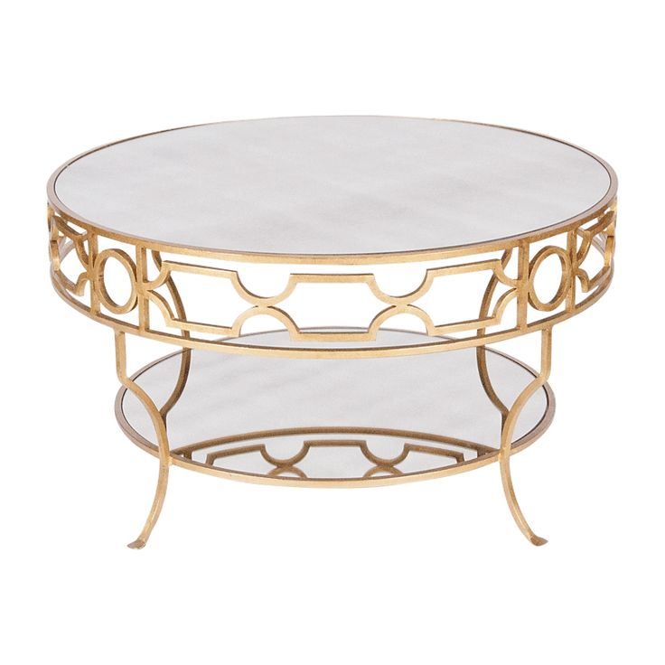 Treillage Cfg Gold Leaf Round Two Tier Coffee Table Gold Leafed With Plain Mirror