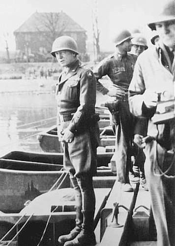 George Patton preparing to urinate in the Rhine River Germany 24 March 1945.