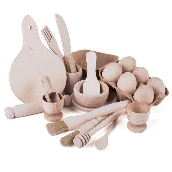 Childrens Wooden Kitchen Utensil Set Montessori by TreasureToys
